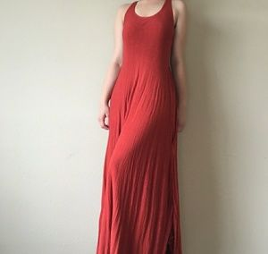 Dresses & Skirts - Vintage Dress Double Layer Coral Red Pockets